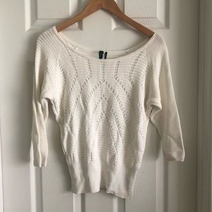 Marciano White Ribbed Knit Light weight Sweater